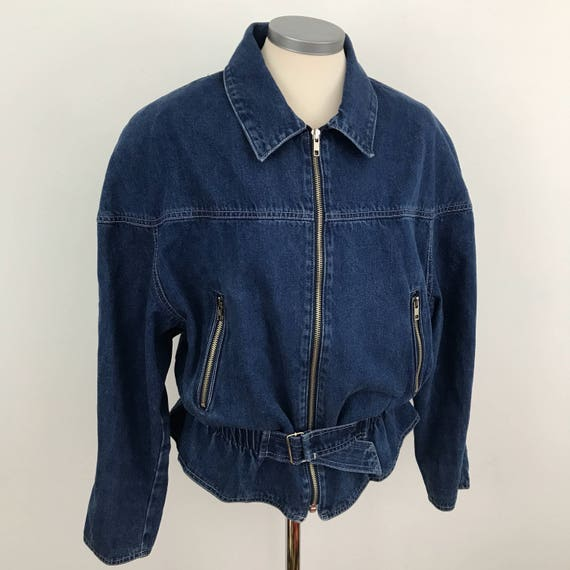 Vintage denim jacket 1980s blue jeans top elasticated waist 80s wide shoulders medium zip front collar elasticated waist blouson Trashy rock