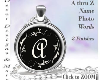 Glass Dome Pendant Necklace Key Ring INITIAL Name Resin New Tile Design 8 Color Finishes SALE Handmade