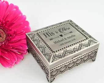 Engraved Silver Jewellery Ring Box