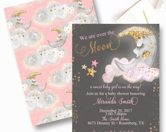 Over the Moon Baby Shower Invitation, Moon and Stars Baby Shower Invite, Pink and Gold Moon Baby Shower Invitation
