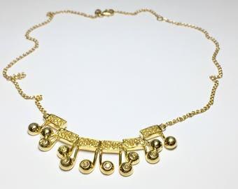 Musical Note Diamond Charm Pendant, 18KT Yellow Gold Diamond Pendant, Musical Note Necklace, Music Jewelry - 12724