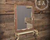 Vintage Shabby Chic Bathroom Vanity Mirror with Towel Rod