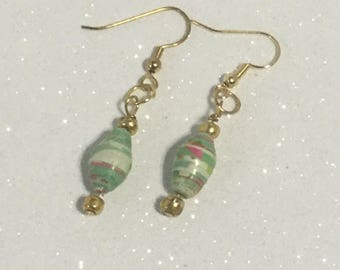 Green White and Red Paper Bead Earrings | Mexican Italian Heritage Earrings  | Mexican and Italian Jewelry | Eco Friendly Earrings | aretes