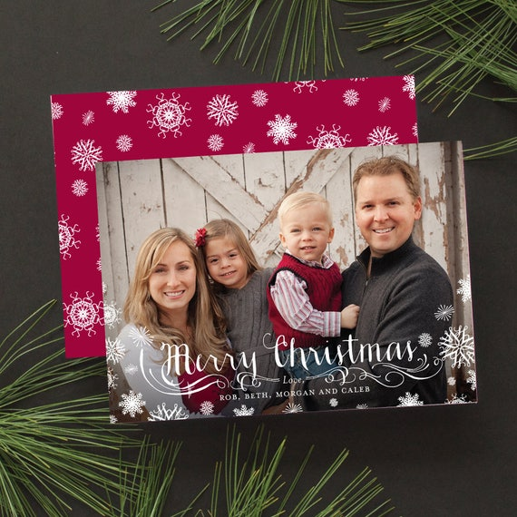 Christmas Cards with Full Bleed Photo, Family Photo Christmas Card with Snowflakes, Custom Christmas Card - Frosted Snowflakes