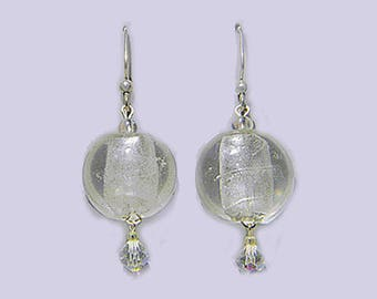 Clear Round Lampworked Glass Bead & Crystal Drop Earrings