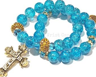 Turqoise Cross Beaded Bracelet Set, Stretchy, Faith, Spiritual, Stack, Custom Handmade Beaded Jewelry