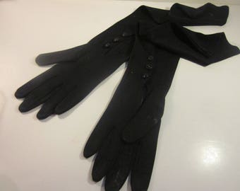 Vintage Black Mousquetaire Evening Gloves Just Right for Dressy Occasions
