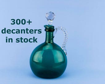 Decanter Blown Green Glass Globular Flask Decanter Port Sherry Wine Whisky Antique English Victorian C1900 Whiskey