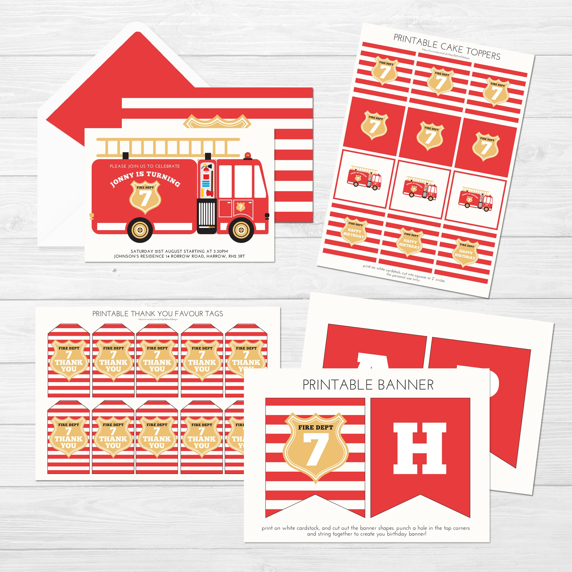 Firefighter birthday set, birthday party printable decorations fire ...