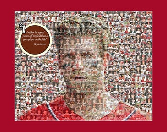 Bryce Harper Photo Mosaic Print Art using 50 different player images of Bryce.