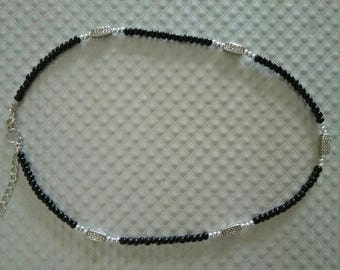 Black seed beads with silver beads