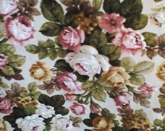 Vintage Swedish linen cabbage roses floral toile curtain pelmet ~ rustic farmhouse prairie