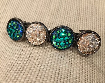 12mm Metallic Blue-Green and Silver Faux Druzy Hair Beret