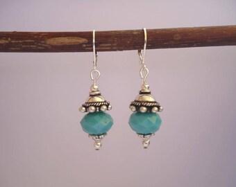 Turquoise et silvery earrings - Bohemian style - Gypsy chic jewelry