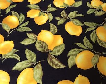 "Lemons curtain valance 42"" x 15"" in 100% cotton - handmade new."