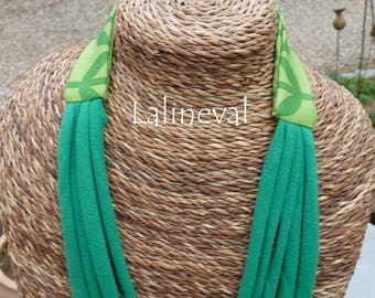 Strips of jersey fabric and green MULTISTRAND necklace green two-tone