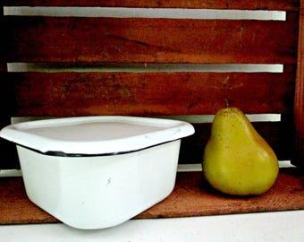 Enamelware Refrigerator Storage Box, With Lid, White Black, Country Farmhouse Cottage Kitchen Decor