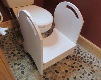 Deluxe Wood Potty Step Stool (white)