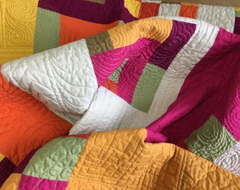 Handmade Lap quilt, boutique quilt, color blocked quilt, wedding gift, made in Canada