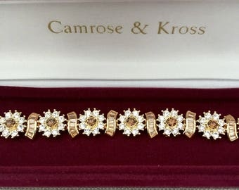 Jackie Kennedy GP Bracelet - 24K Floral Garden with Crystals, Box and Certificate - Sz 7 or 8