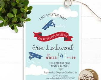 Airplane Baby Shower Modern Whimsical Printable 5x7 Invitation - Plane - Baby Boy Shower Invite - Blue Red
