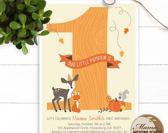 Woodland Our Little Pumpkin First Birthday Invitation -  Pumpkin Party Invite  - Girl or Boy 1st Birthday Invite - Deer Fox Leaves