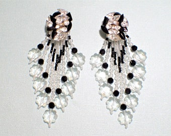 Black and Clear Glass Chandelier Shoulder Duster Drop Dangle Bridal Formal Prom Clip Earrings