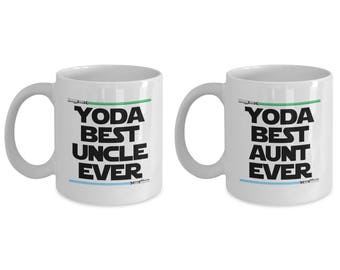 Yoda Best Uncle Ever and Yoda Best Aunt Funny Gift for family SET of TWO Star Wars Nerd Birthday