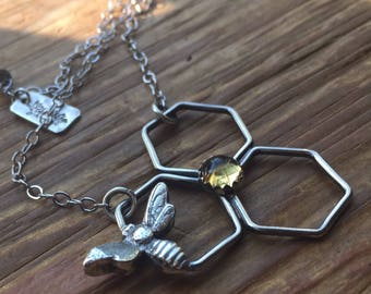 Honeycomb Bumble bee Honey Bee Citrine Sterling necklace
