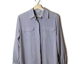 Vintage Pale Bluish Grey/Gray Long sleeve Slouchy Blouse*