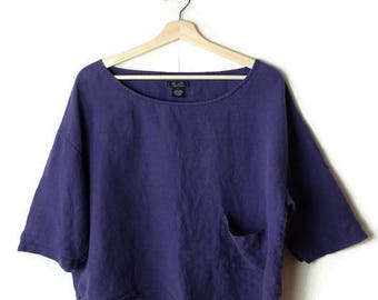 Vintage Dark Blue/Navy Short sleeve pure Linen Slouchy Blouse /T-shirt from 90's*