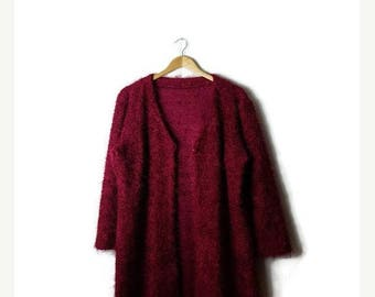 Clearance SALE 40% off Vintage Plain Burgundy Fluffy Long Sweater Cardigan from 90's*