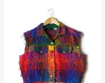 ON SALE Vintage Colorful Block checked fringed Cotton Sleeveless Blouse/Vest from 90's*