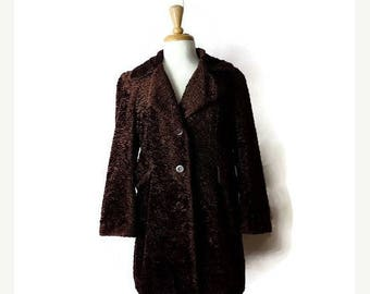 ON SALE Vintage Brown Button Down Coat from 80's*