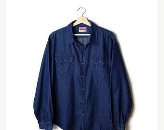 ON SALE Vintage Wrangler Men's Denim blue  Cotton Long sleeve Shirt from 90's*