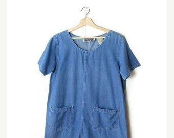 ON SALE Vintage  Blue Denim Short sleeve  Casual Dress from 90's*