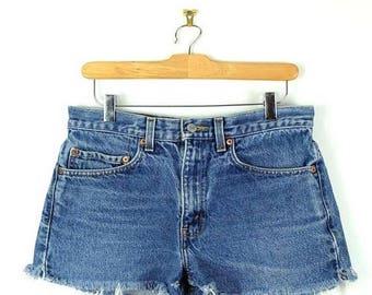 ON SALE Vintage Levi'S 517 Blue Denim Cut Off Shorts*