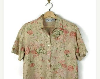 ON SALE Vintage Light Beige x Pink  Floral  Short sleeve slouchy Blouse from 90's*