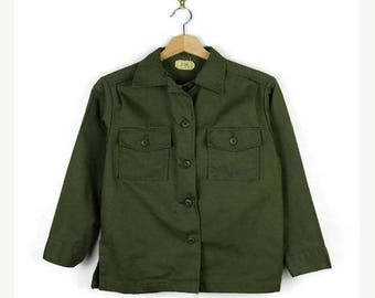 ON SALE Vintage US Army Military Olive Green Utility  shirt/Women's