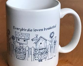 Every Birdie Loves Baskets Coffee Mug, 1996 K. Hughes, USA, Birds Birdhouses Flower Basket