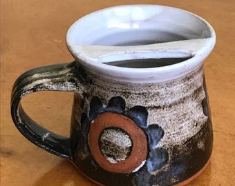 Vintage Collectible Handcrafted Glazed Pottery Mustache Mug, Circles Flowers, Red Clay