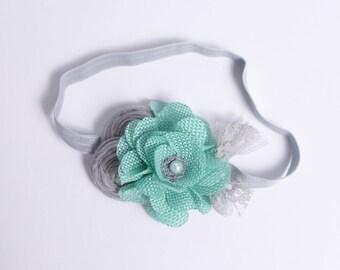 Grey Mint headband , Aqua Flower headband, Gray lace Baby headband