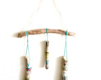 Painted sticks mobile, hand painted with love, colorful tribal painted sticks