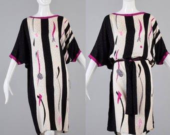 SALE Flowy Silk Dress Loose Kaftan Flora Kung Cocoon Dress Vintage 1980s 80s Dress
