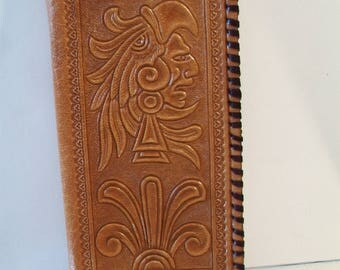 Vintage Tooled Leather Wallet Embossed Mexican Aztec Mayan Accessories For Her