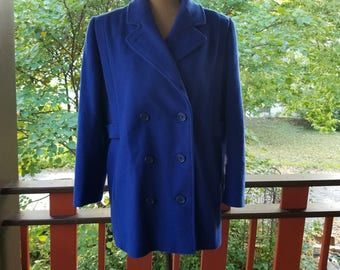 Vintage 1980's Signature Coats By Miss Harwood Blue Wool Winter Coat