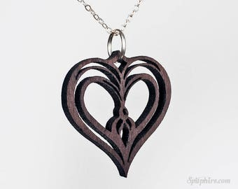 Wood Heart Necklace - Owl Heart - Twin Flame Pendant Necklace - Laser Cut