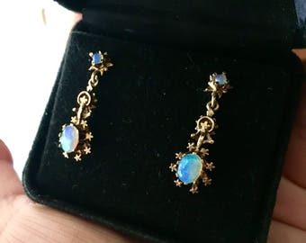 Antique 14 k Opal Drop Earrings