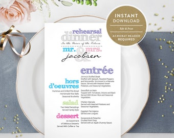 Multi-Colored Rehearsal Dinner Menu (Instant Download)