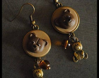 Bronze earrings in polymer clay with Teddy bear